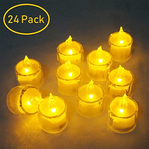 LoveNite Battery Operated LED Flameless Plastic Candle 24 Pack Mini Night Light for Home Party Festival Christmas Decor LED-Candle