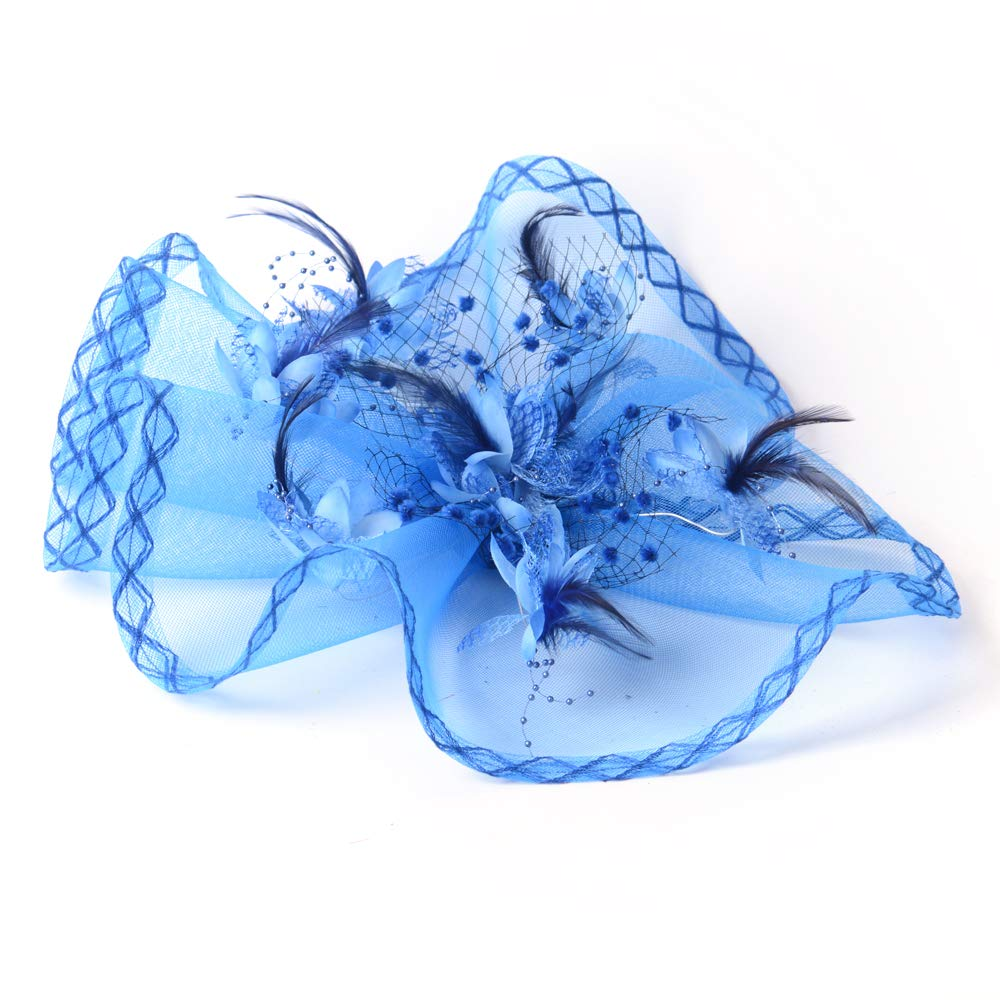Women Fascinator Hat Bridal Feather Hair Clip Accessories Cocktail Royal Derby Tea Wedding Party,Red
