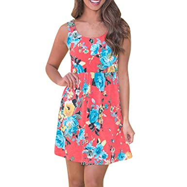 ESAILQ Womens Summer Sleeveless Floral Print Racerback Midi Dresses with Pocket Women Floral Print High Waist