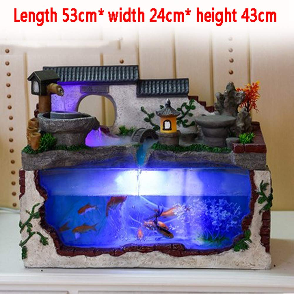 C Desktop Glass Fish Tank, Creative Ecological Small and Medium Living Room Aquarium