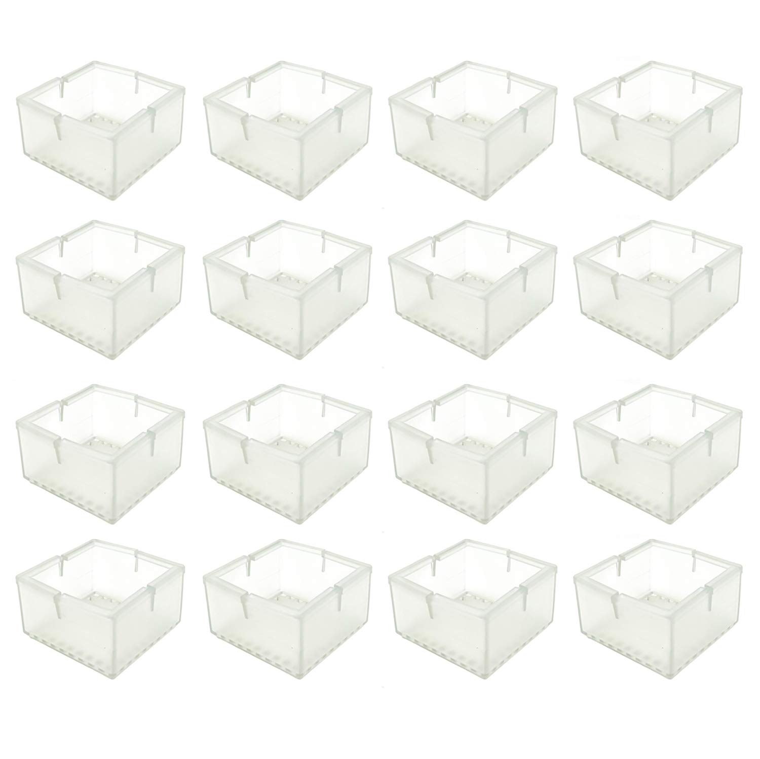 BTMB 16 Pcs Square Chair Leg Floor Protectors Silicone Furniture Table Feet Covers Transparent Furniture Leg Tips (Fit 1.92'' to 2.16'')