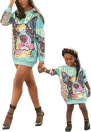 Loalirando Sudadera Madre e Hija Sudaderas Largas sin Capucha Ropa de Vestido Largo de Moda