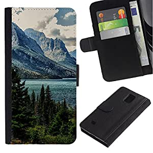 NEECELL GIFT forCITY // Billetera de cuero Caso Cubierta de protección Carcasa / Leather Wallet Case for Samsung Galaxy Note 4 IV // Alaska Mountain Lake