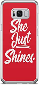 Samsung Galaxy S8 Plus Transparent Edge Phone Case She Just Shines Phone Case Red Samsung Galaxy S8 Plus Transparent Edge Phone Case Her Samsung S8 Plus Cover with Transparent Bumpers