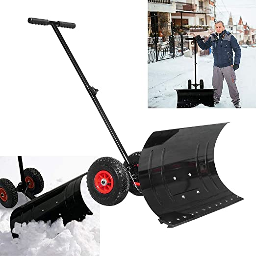 Schneeschieber mit Rädern feuerverzinkt Stahl  Schneeschaufel  Schneeschild