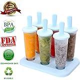 Popsicle Molds Set - 100% BPA Free - 6 Ice Pop Molds Maker(Blue)