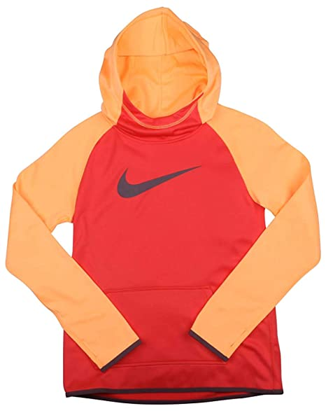 bcde4a5faea8b Nike Girl's Dri-Fit Thermal Pullover Hooded Sweatshirt Red Orange 912987  850 ...