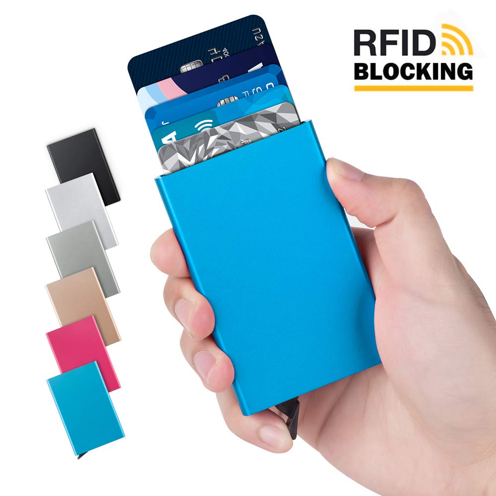 Lungogo Credit Card Case Minimalist Slim Aluminum Holder RFID Blocking Front Pocket Wallet Perfect Card Organizer Automatic Pop Up Design Holds 5 Cards (Blue)