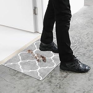 U'Artlines Doormat Absorbs Mud Resist Dirt Decorative Non Slip Inside Floor Mats Low-Profile Machine Washable Indoor Outdoor for Front Door Entryway Kitchen (17.7x25.6+20.9x33.9, Gray)