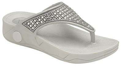 f8f2828f5e805 Dunlop Ladies Low Wedge Fit Flip Flop Slipper Toe Post Crystal Sandals  Shoes Size 3-