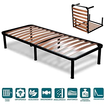 EvergreenWeb - Red desmontable cama individual 80 x 190 con somier de madera ortopédico, estructura