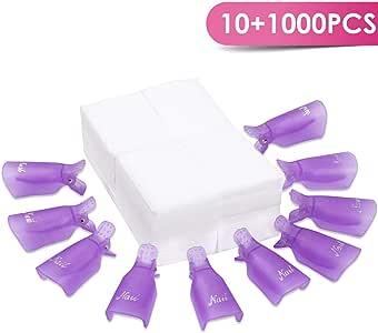 BTArtbox Nail Polish Remover Clip 10Pcs Soak Off Nail Gel Polish Remover Clip Caps 1000 Pcs Lint Free Nail Wipes Cotton Pads Wraps for Acrylic Nail Remover UV Gel Nail Polish Removal