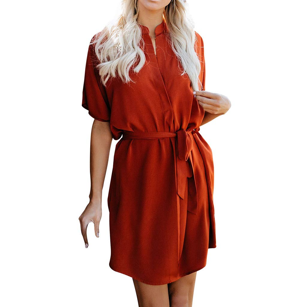 Euone Dress Clearance, Women Casual Short Sleeve V Neck Dress Evening Party Dress With Belt