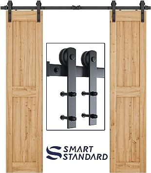 SMARTSTANDARD Perchas para puerta corrediza de granero en forma de ...