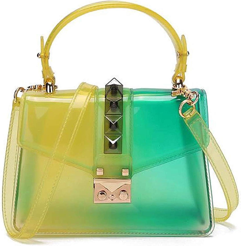 Clear Transparent Saddle Bag Rivet Jelly Bags Purse Panelled Color S Sac A Main Femme Shoulder Bag