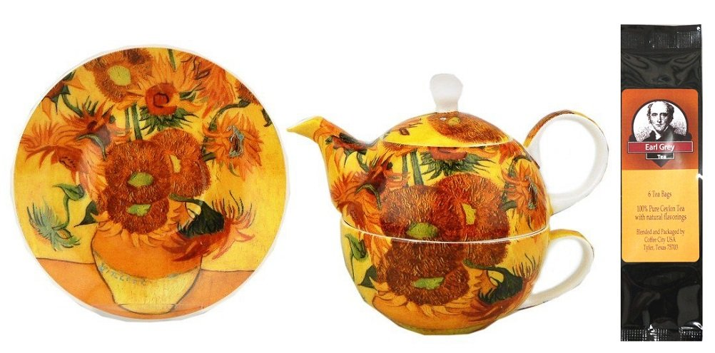 McIntosh Trading Van Gogh Sunflower Tea for One in Matching Gift Box and One Package of Tea Bags, Bundle 2 Items