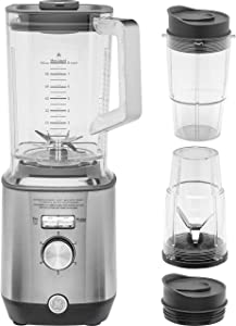 GE Blender with (2) 16 Ounce Personal Cups, Powerful 1000 Watt Blender with 72-Ounce Tritan Jar, 5 Speeds with Pulsing Option, Stainless Steel, G8BCAASSPSS