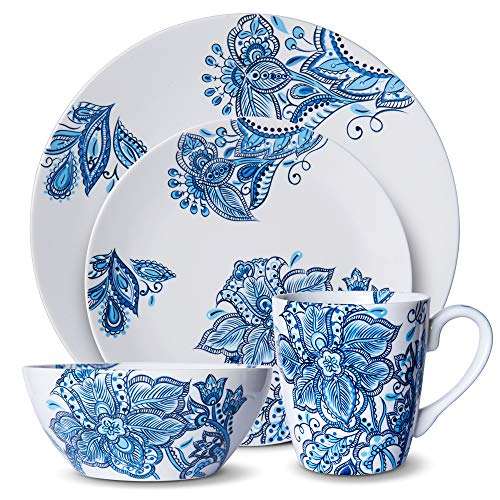 (Pfaltzgraff 5229618 Arden 16-Piece Porcelain Dinnerware Set Service for 4 Blue/White)