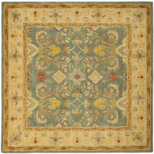 Safavieh Anatolia Collection AN544D Handmade Traditional Oriental Light Blue and Ivory Wool Square Area Rug (8' Square)