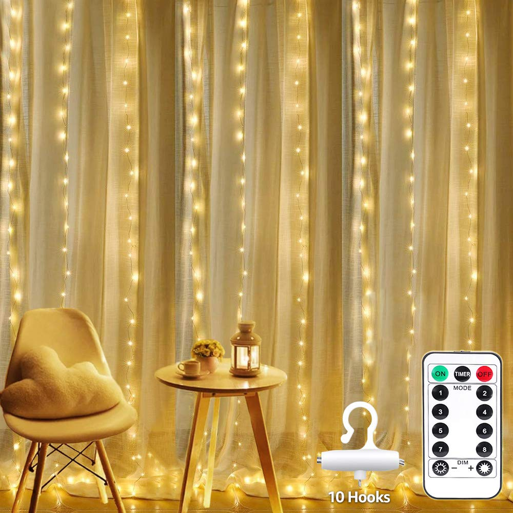LE 2019 Curtain Lights, Waterproof, 300 LED Plug in Fairy Lights with Remote, 8 Modes Twinkle Lights, Warm White, Dimmable Decorative Indoor Outdoor String Lights for Bedroom, Patio, Parties, Weddings