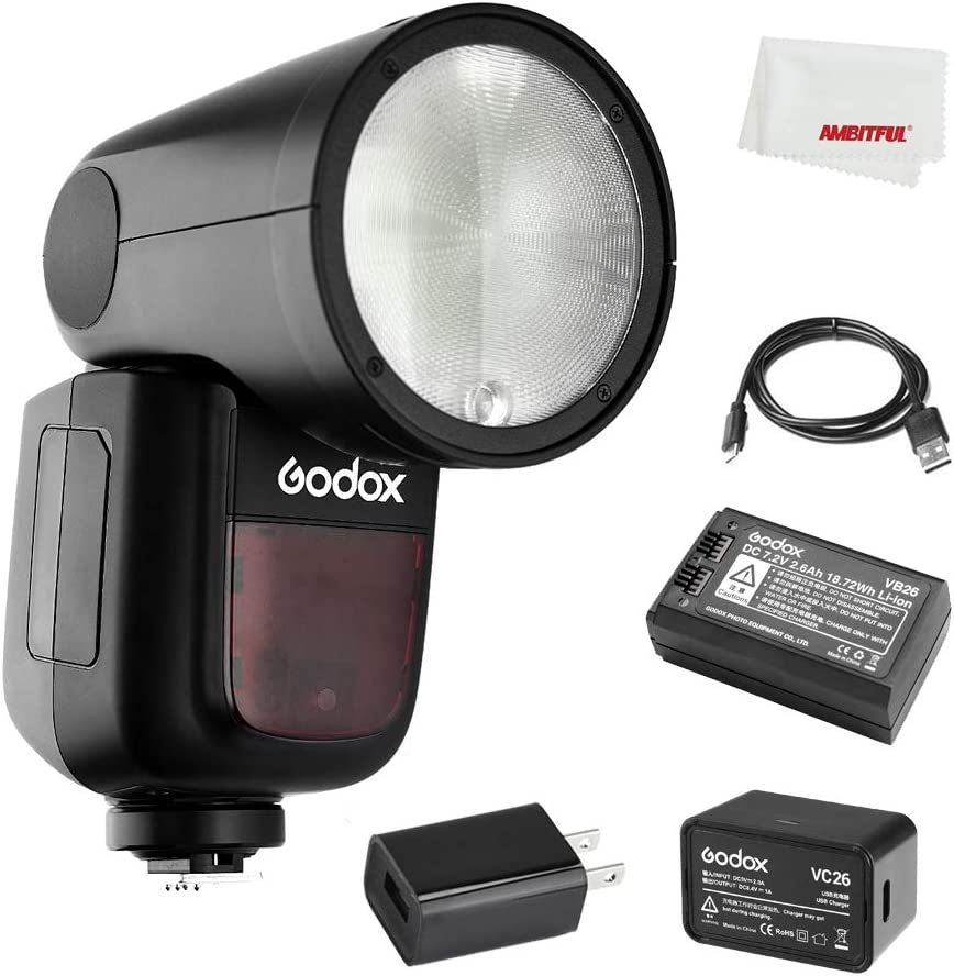 480 Full Power Shots 1.5 sec Recycle Time,1//8000 HSS Godox V1-N V1N Flash Interchangeable 2600mAh Lithimu Battery for Nikon