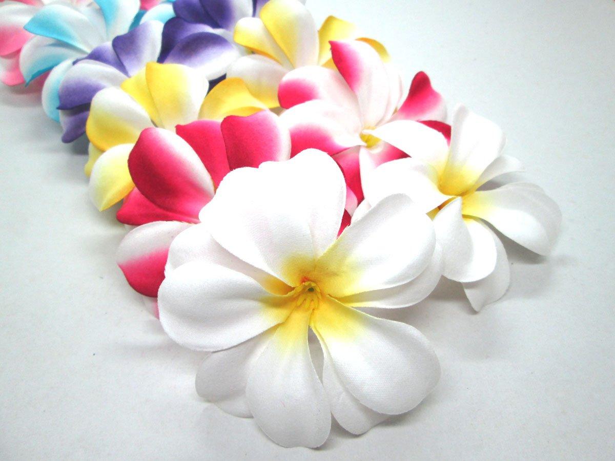 (100) Assorted Hawaiian Plumeria Frangipani Silk Flower Heads – 3″ – Artificial Flowers Head Fabric Floral Supplies Wholesale Lot for Wedding Flowers Accessories Make Bridal Hair Clips Headbands Dress