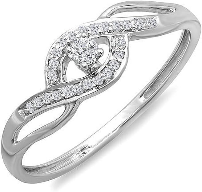 0,15 carats (CT) 10 K Or rond Diamant Taille pour femmes Criss Cross Promise Bague de fiançailles de fiançailles