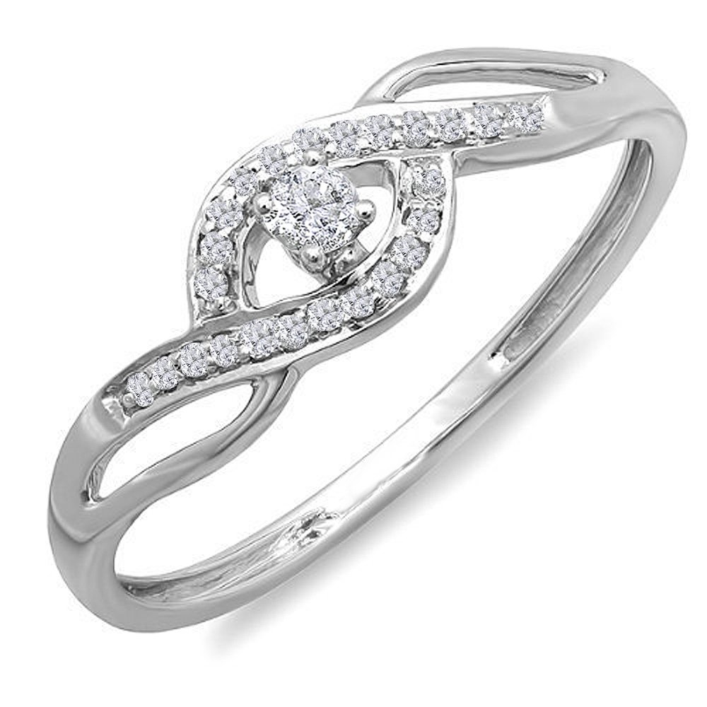 AGS CERTIFIED 0.15 Carat (ctw) 10K White Gold Round Diamond Ladies Engagement Bridal Promise Ring