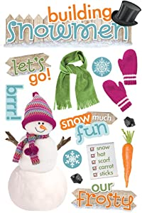 Paper House Productions STDM-0228E 3D Cardstock Stickers, Building a Snowman (3-Pack)