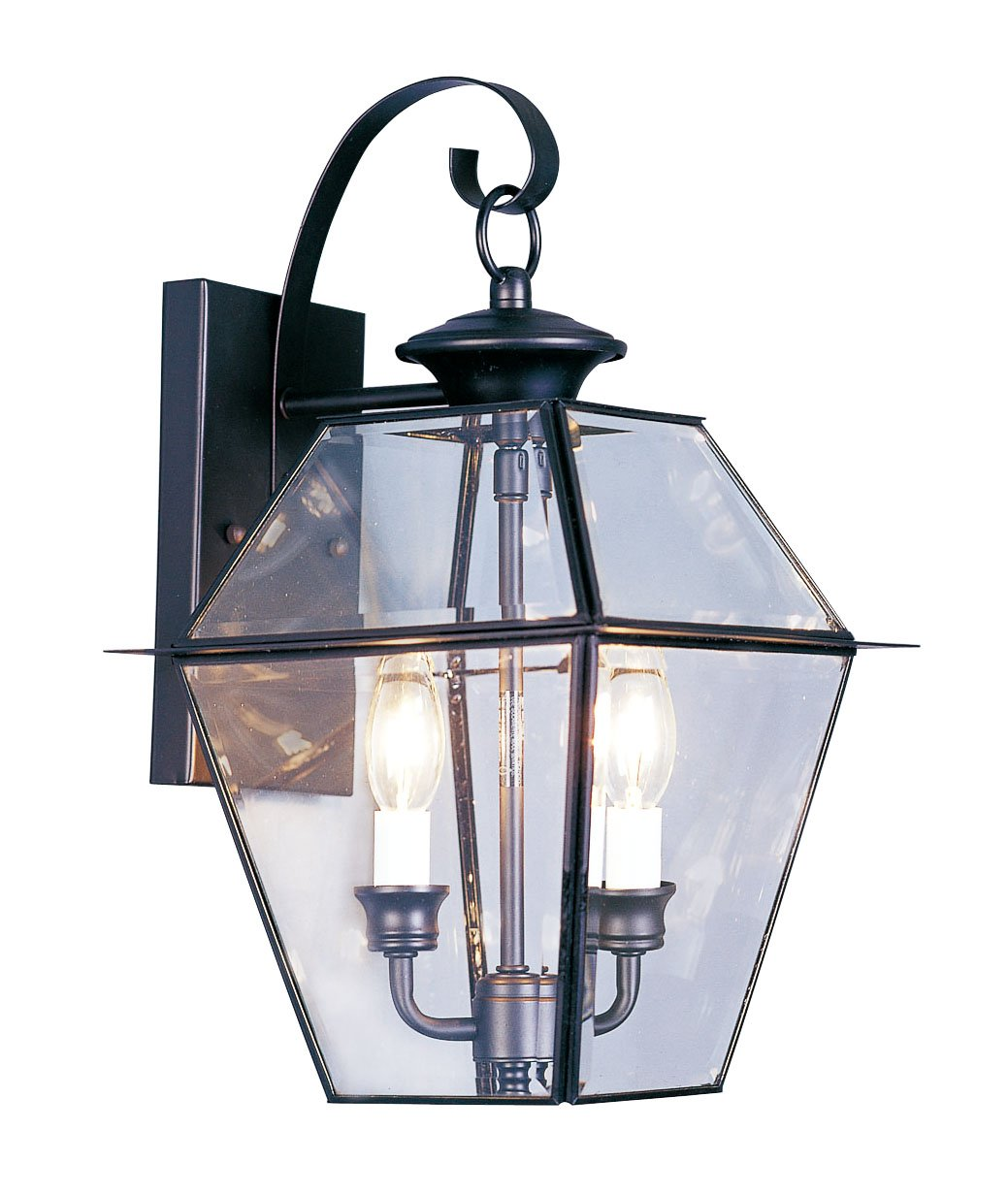 Livex Lighting 2281-04 Westover 2 Light Outdoor Black Finish Solid Brass Wall Lantern  with Clear Beveled Glass