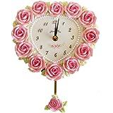 ハートローズ振子時計 かわいい 姫系 ローズ 掛け時計 薔薇の掛時計