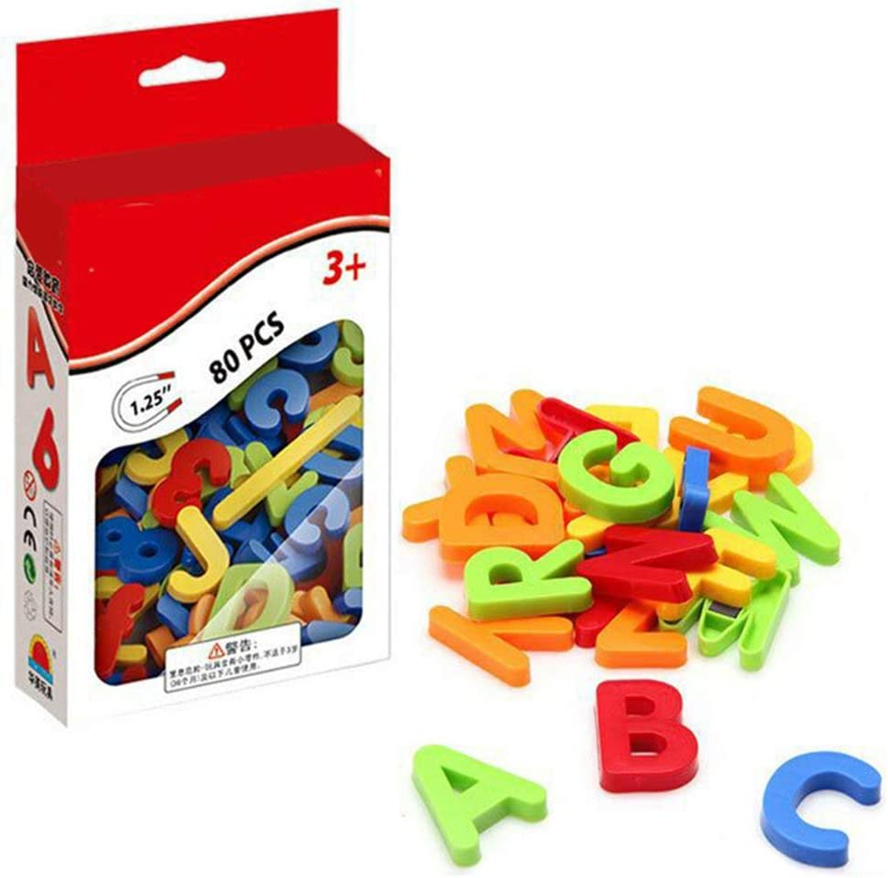 Letters Numbers Magnetic Educational Toys Fridge Stickers Gift Set For Kids 80 Pieces Alphabet Magnets