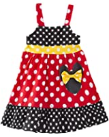 AvaCostume Girls Sleeveless Polka Dots Red Black Swing Dress