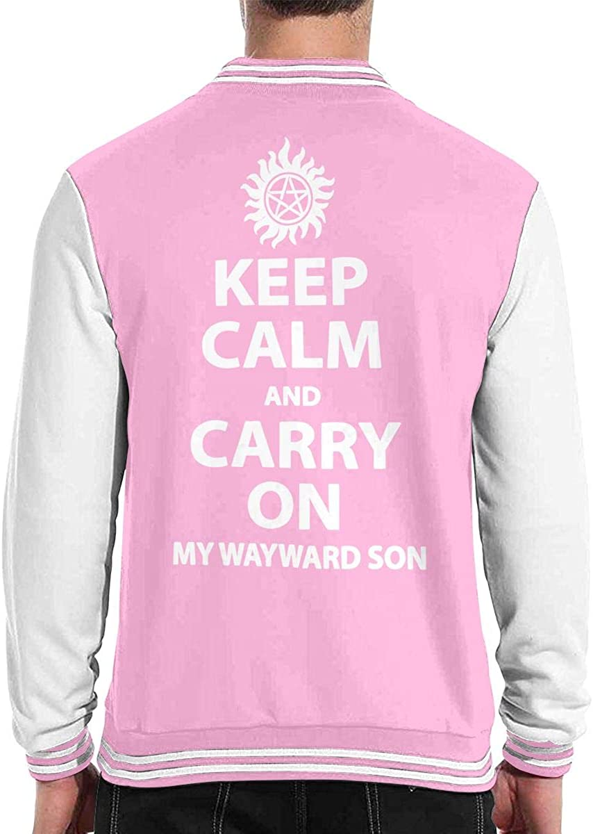 Supernatural Keep Calm and Carry On My Wayward Son Adult Mens Fashion Long Sleeve Sweater T Shirts
