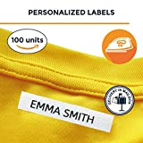 100 Personalised Iron-on Fabric Labels to Mark Your Clothes. Gentle with Your Kids Skin, for Children's School Uniform/Clothes / Clothing Labels for Kids, Baby and Children.