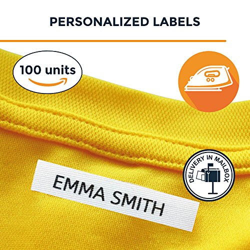 Iron On Label - 100 Personalised Iron-on Fabric Labels to Mark Your Clothes. Gentle with Your Kids Skin, for Children's School Uniform/Clothes / Clothing Labels for Kids, Baby and Children.