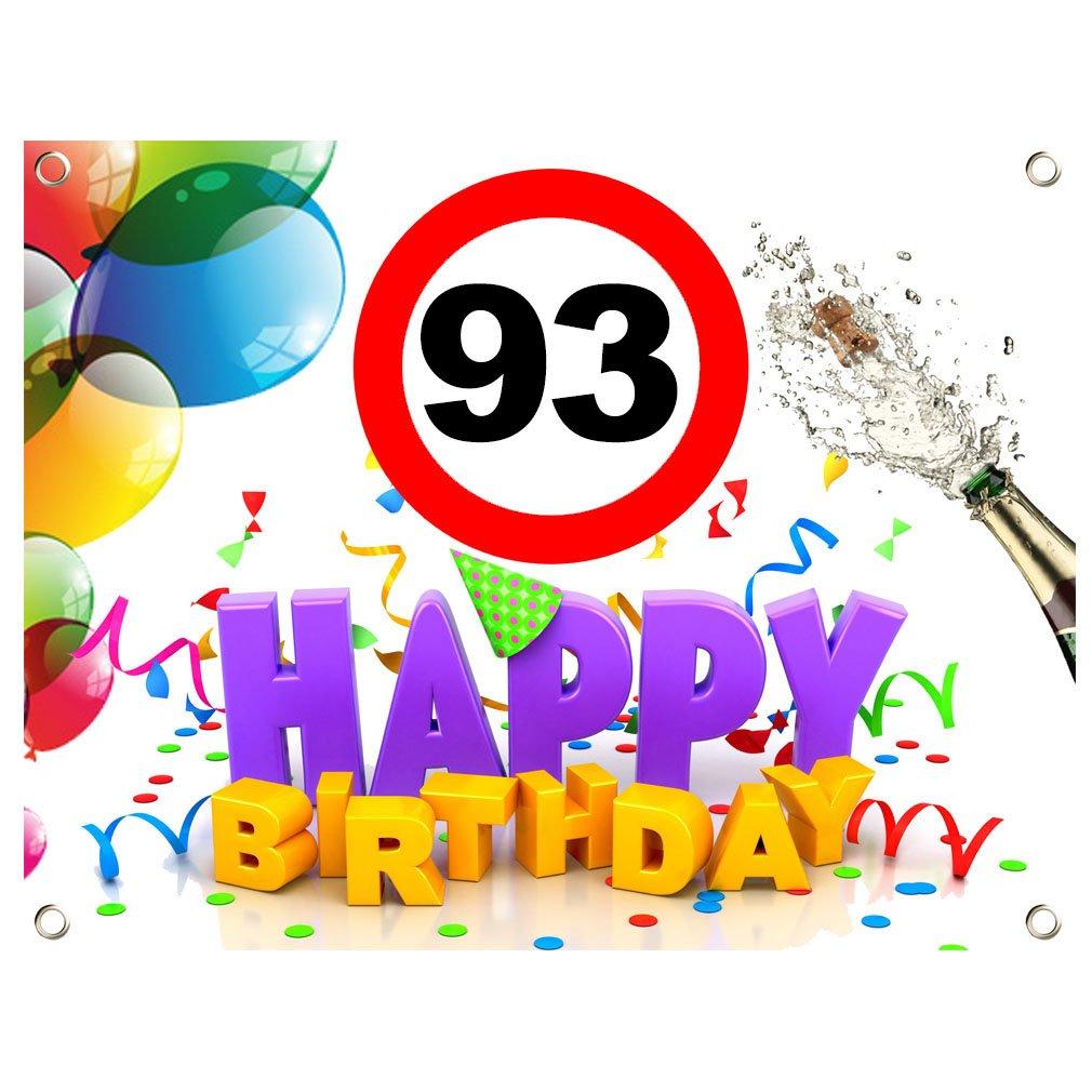93. Geburtstag Geburtstags Banner Geburtstags Plane PVC 1,30m x 1,00m zum 93. Geburtstag