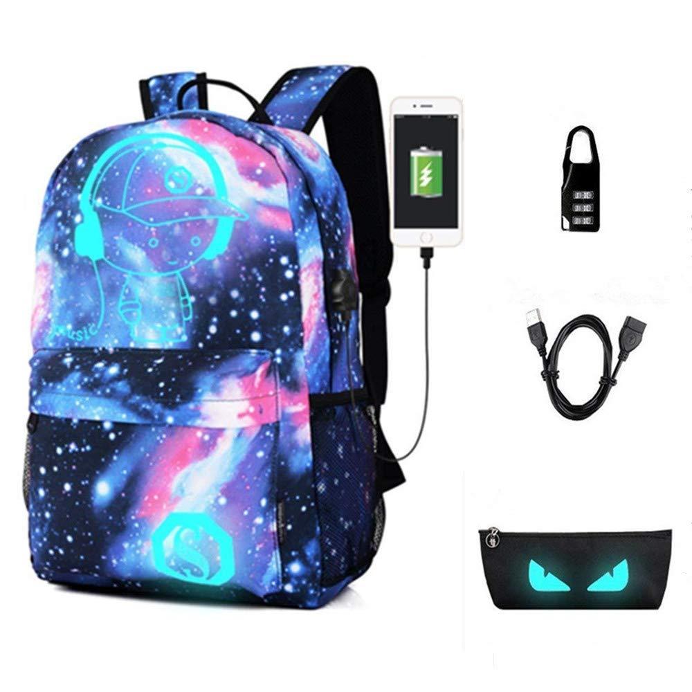 Sac à Dos lumineux Anime Glow enfants Sac à Dos Avec Port USB Chargeur, étudiant Sac à Dos Portable fit 15,6-inch Notebook