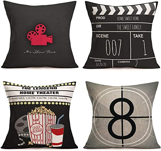 Amazon Com Smilyard Movie Theater Pillow Covers Vintage Cinema Poster Design Decorative Pillow Covers With Old Fashioned Icons Cushion Cover Home Decor Pillowcase 18x18 Inch Set Of 4 Cinema Set Home Kitchen