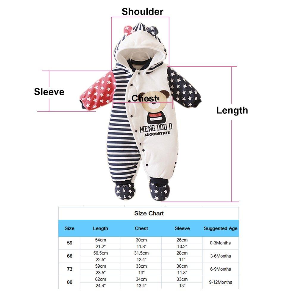 GudeHome Bambino Ragazze Ragazzi pagliaccetto Neonato addensare Snowsuit Autunno inverno infantile tute attrezzatura 0-3 mesi
