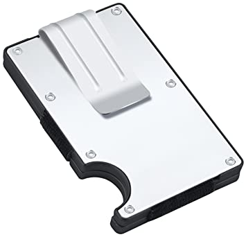 ... Aleación de Aluminio Carteras Minimalista Delgado Tarjeta de Visita Poseedor con Plástico ABS Clip Ligero de Dinero con Bloqueo de RFID para Hombres ...