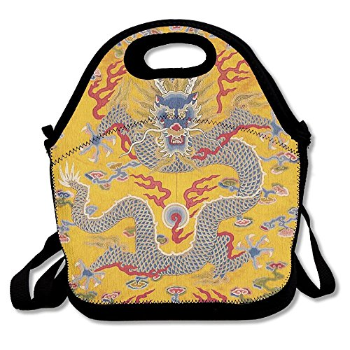 Ancient Chinese Dragon (Ancient Chinese Qing Dynasty Emperor's Dragon Insulated Lunch Bag Picnic Lunch Tote For Work, Picnic, Travelling)