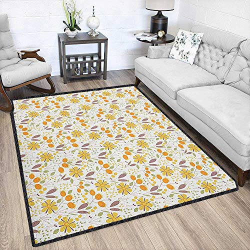 Floral Contemporary Synthetic Rug,Autumn Field Gardening Bedding Plants Cottage Yard Fall Foliage Hand Drawn Motif Textured Geometric Design Multicolor 79