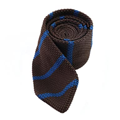 Luhen Mens Skinny Knit Tie Stripe Pattern Knitted Necktie Ties