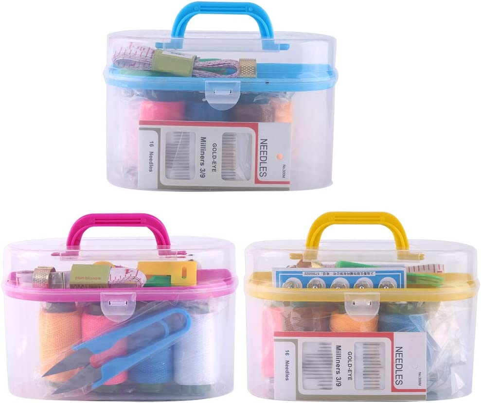 Rosered Large Portable Sewing Kit Box Plastic Organizer Storage Box with Removable Interlayer for 10pcs Sewing Tools Including Needle Tape Measure Scissor Thimble