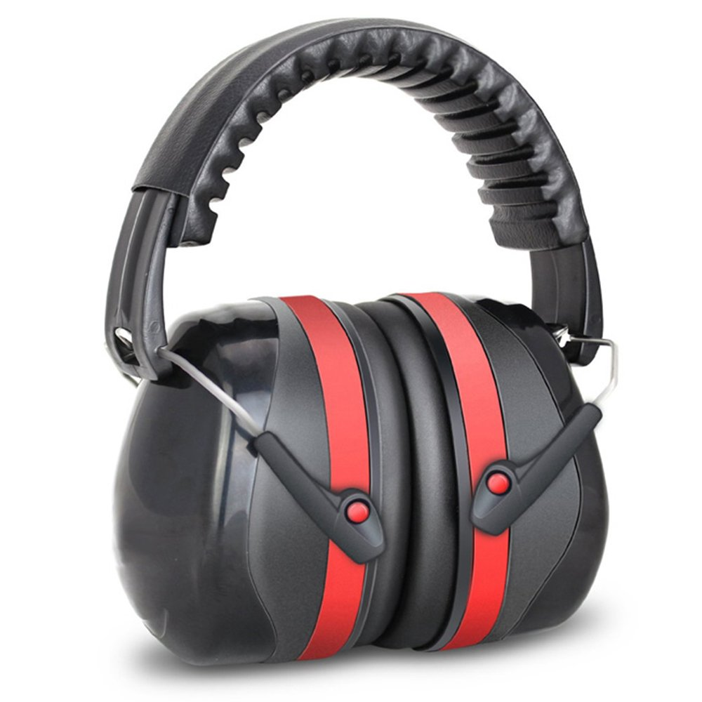 Noise Reduction Safety Ear Muffs, NRR 32dB Professional Ear Defenders for Shooting, Hearing Protector Fits Adults to Kids, Red & Black