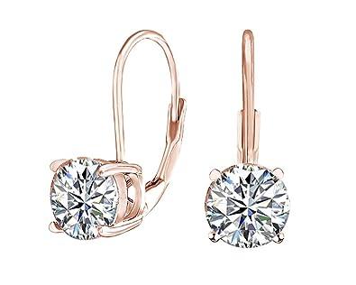793b5411eba2e Round Cut Cubic Zirconia Solitaire Drop Earrings in 18ct Rose Gold ...