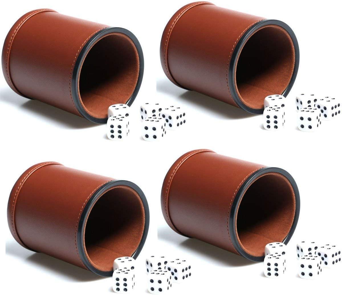 5X W/ürfelbecher-Set,leiser W/ürfelbecher mit 25 W/ürfeln,Exklusives Aufbewahrungs und Transportetui aus Kunstleder mit Magnetverschluss f/ür Farkle Yahtzee schwarz
