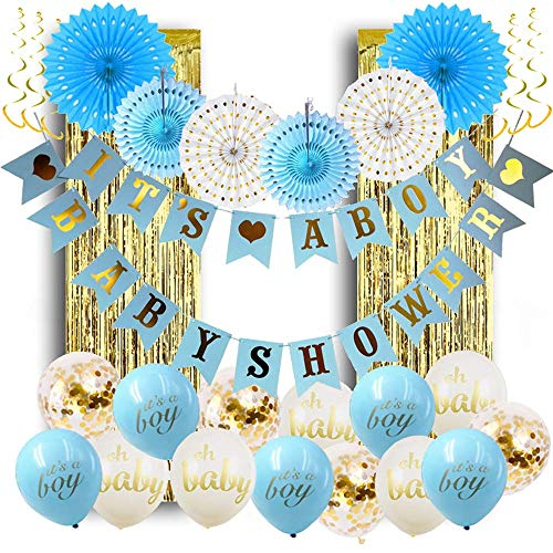 Baby Shower Decorations for Boy; Its a Boy Baby Shower Hollow Paper Fan Balloons Banner Gold Foil Fringe Curtain Kit for Baby Shower Party -
