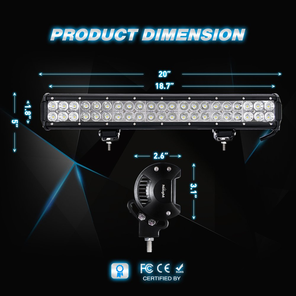 61UvXttfKgL._SL1000_ amazon com led light bar nilight 20 inch 126w led work light spot  at mifinder.co